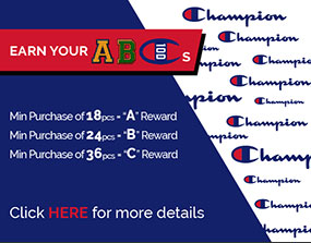 Earn your ABCs. Min Puchase of 18pcs = 'A' Reward. Min Puchase of 24pcs = 'B' Reward. Min Puchase of 36pcs = 'C' Reward. Click here for more details.