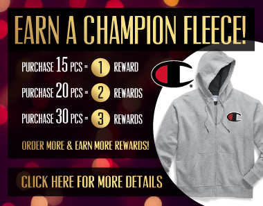 EARN A CHAMPION FLEECE! Click here for more details.